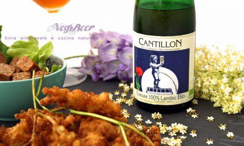 Veg&Beer #5 Frittura di fiori di sambuco, tempeh e birra acida Gueuze 100% Lambic bio