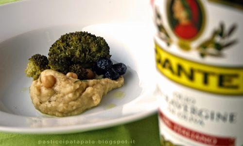 Cremoso di ceci e santoreggia, broccoli e olive nere