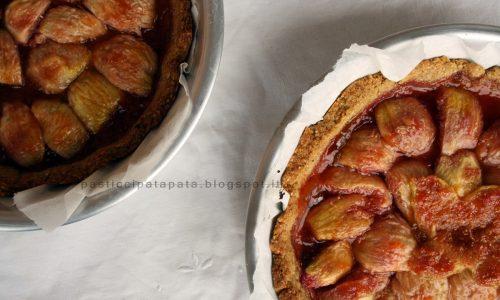 Crostata di fichi con noci e marmellata di albicocche (senza zucchero)