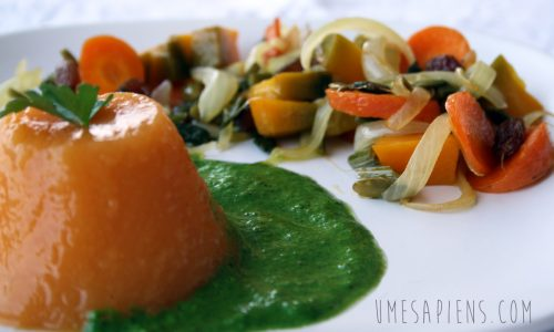 Jelly di carota con salsa di sedano e caponata agrodolce
