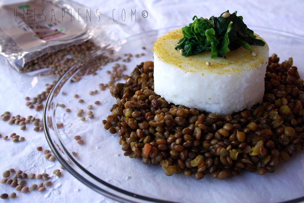 lenticchie speziate e polenta bianca