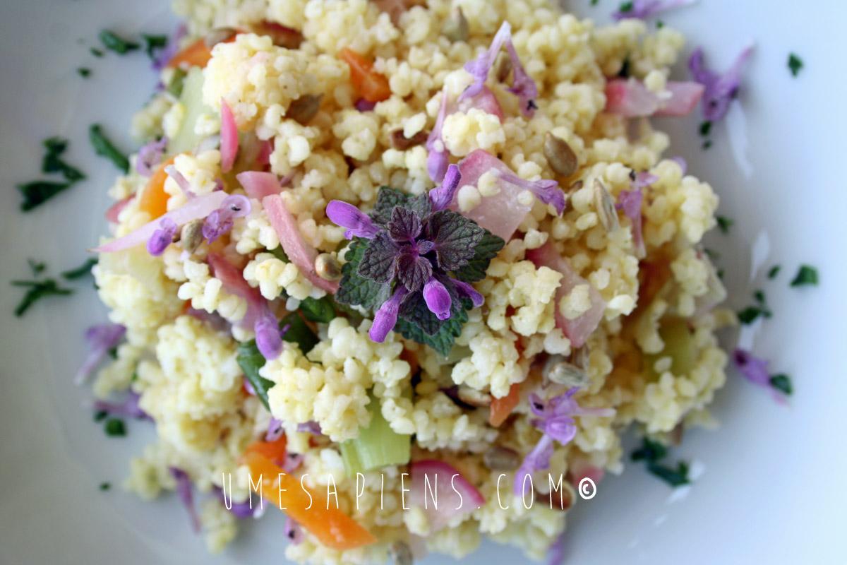 insalata di miglio con fiori