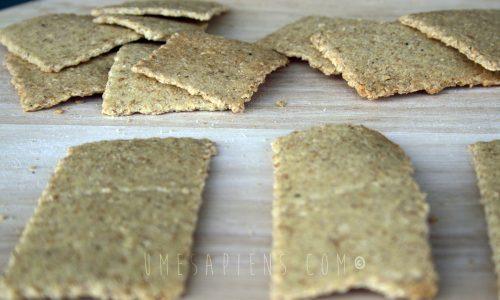 Crackers di okara al sesamo con pasta madre