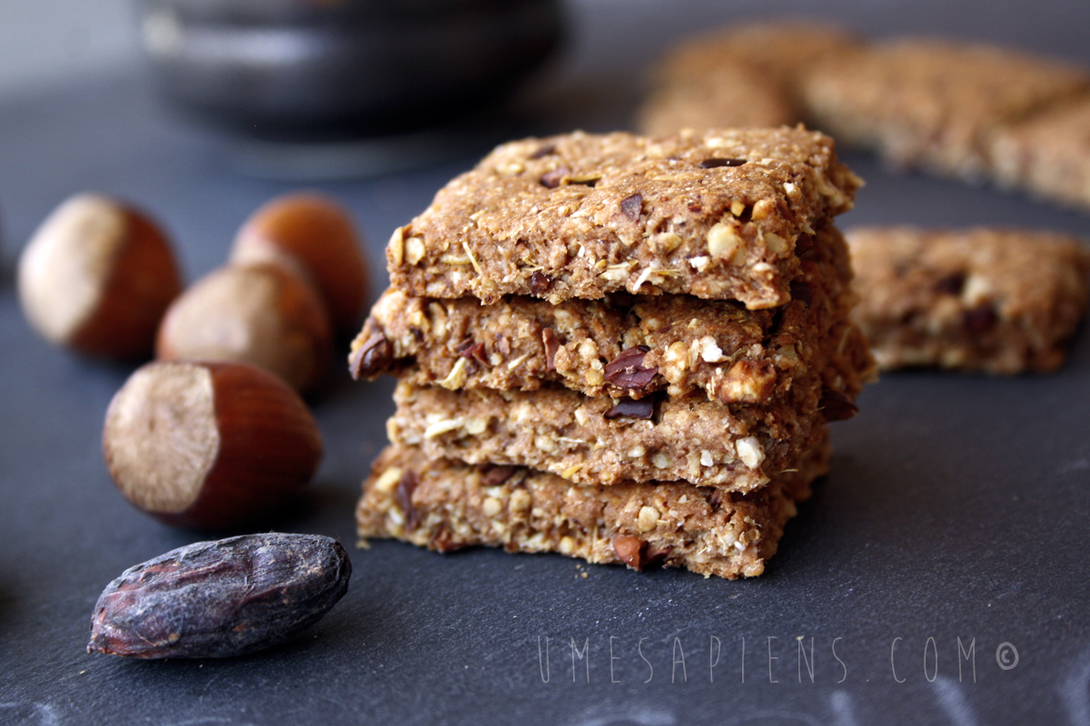 biscotti avena nocciole e fave di cacao