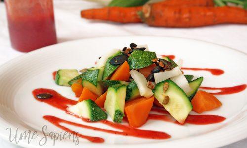 Verdure scottate con dressing di fragole e zenzero agrodolce