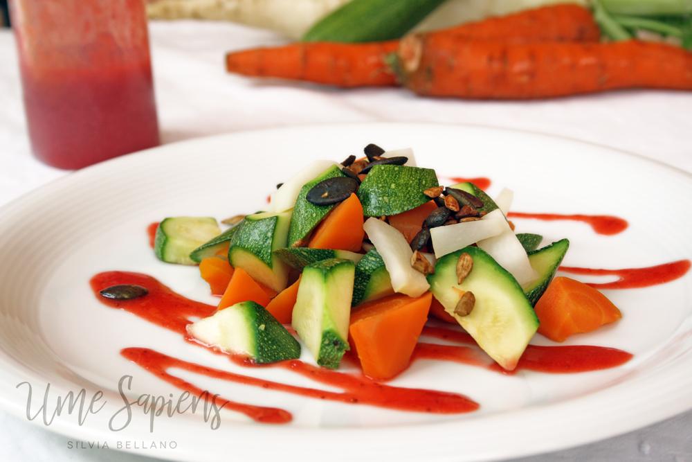 verdure con dressing di fragole e zenzero