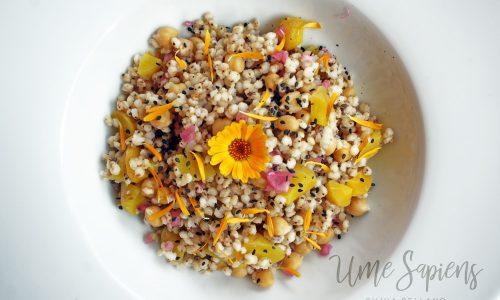 Insalata di sorgo con carote gialle, ceci e fiori di calendula