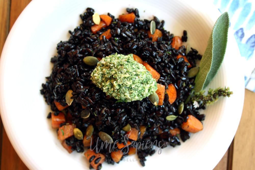 riso nero con pesto di salvia