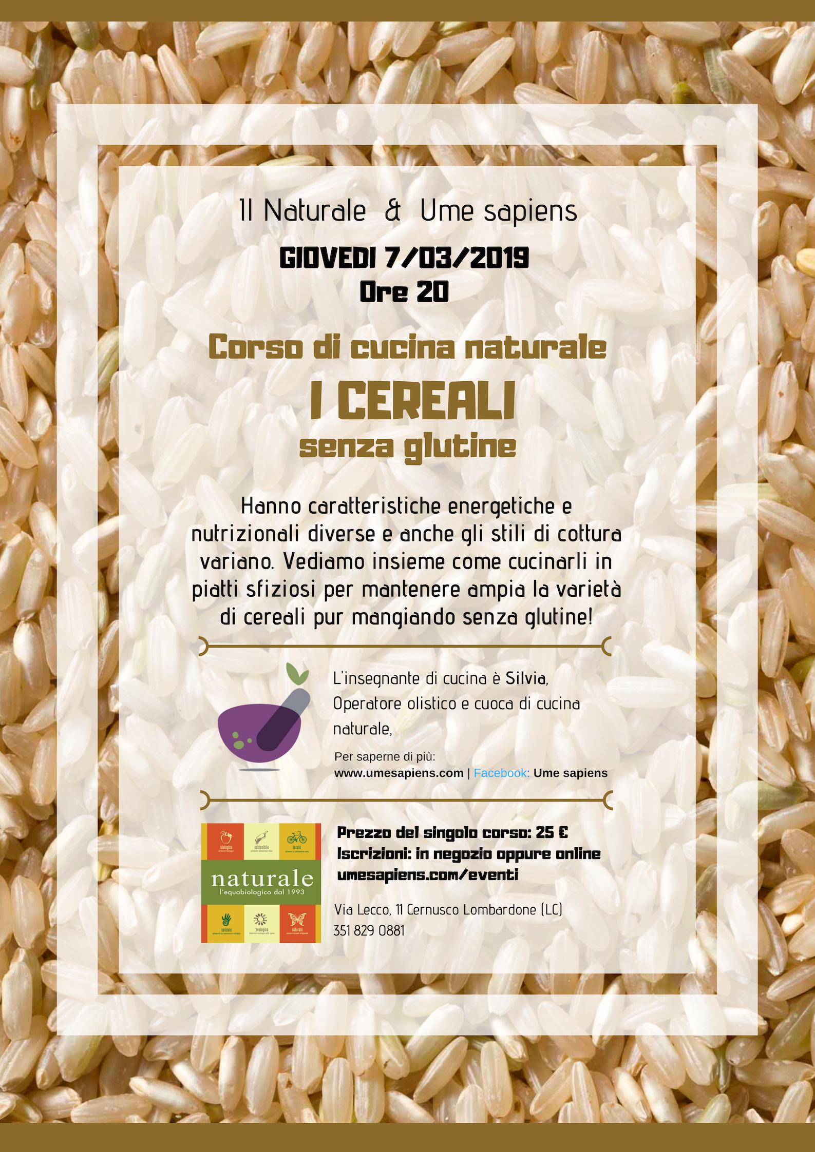 corso di cucina naturale CEREALI senza glutine